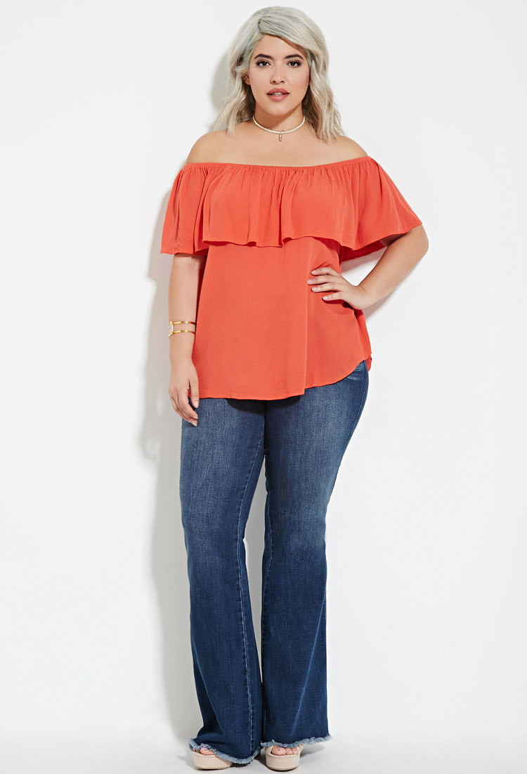 89a04ea2c54 Lyst - Forever 21 Plus Size Off-the-shoulder Flounce Top in Pink