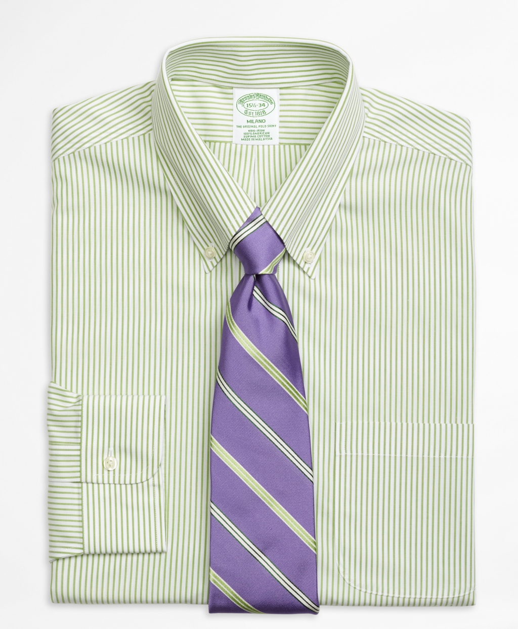 Brooks brothers non iron milano fit wide stripe dress for Brooks brothers non iron shirts review