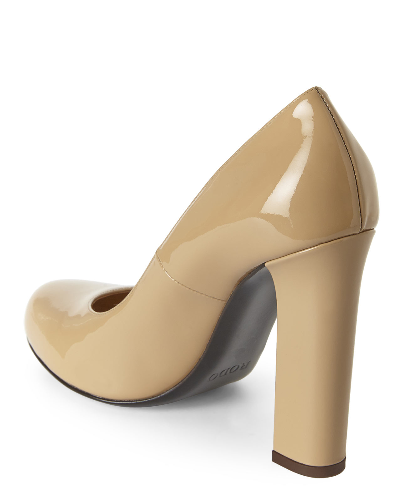 ede69261166 Lyst - Rodo Nude Block Heel Pumps in Natural