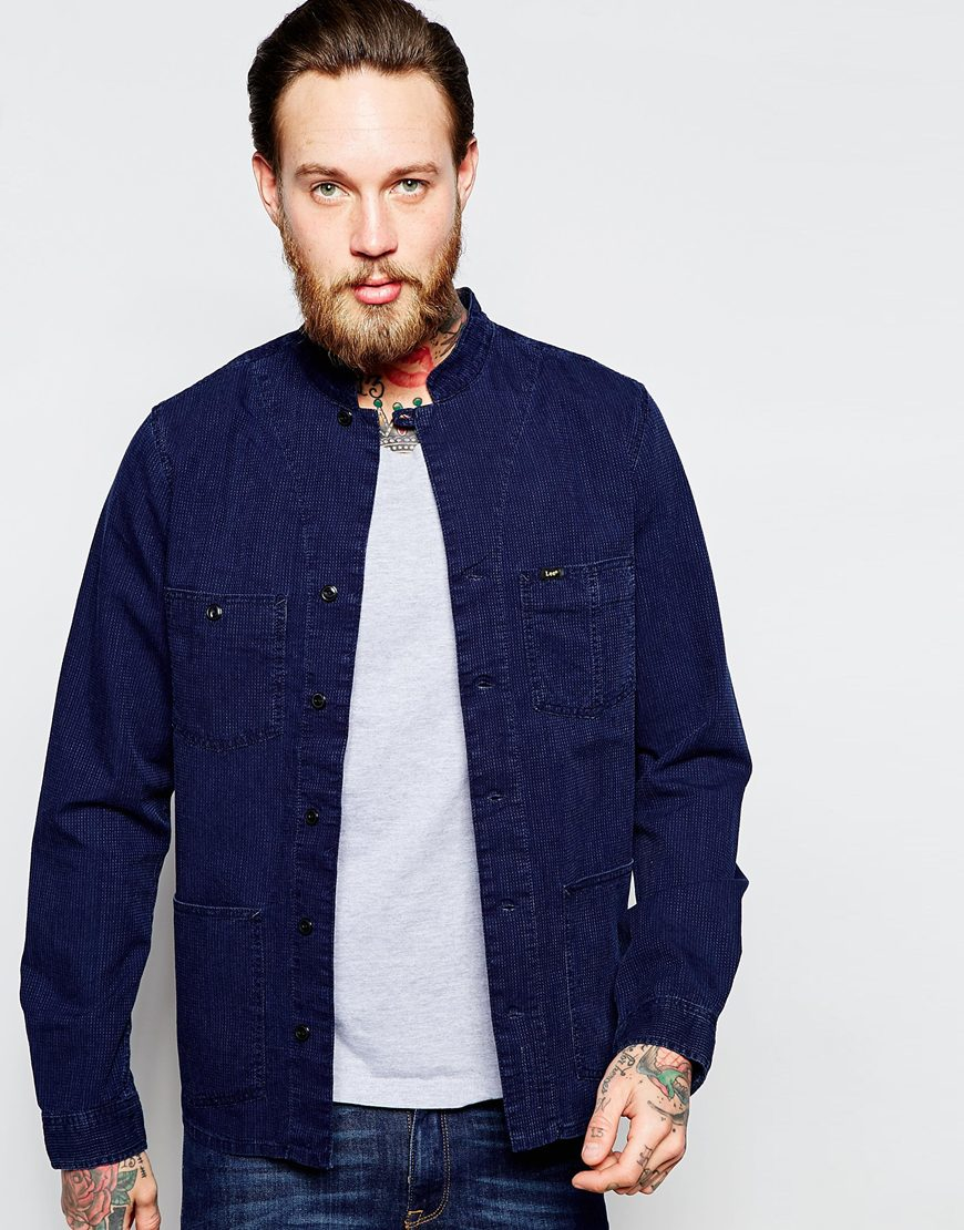 Lee jeans Overshirt Jacket Collarless Indigo in Blue for Men | Lyst