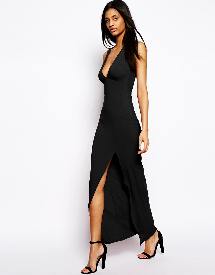 Asos Sleeveless Maxi Dress With Deep Plunge - Black in Black | Lyst