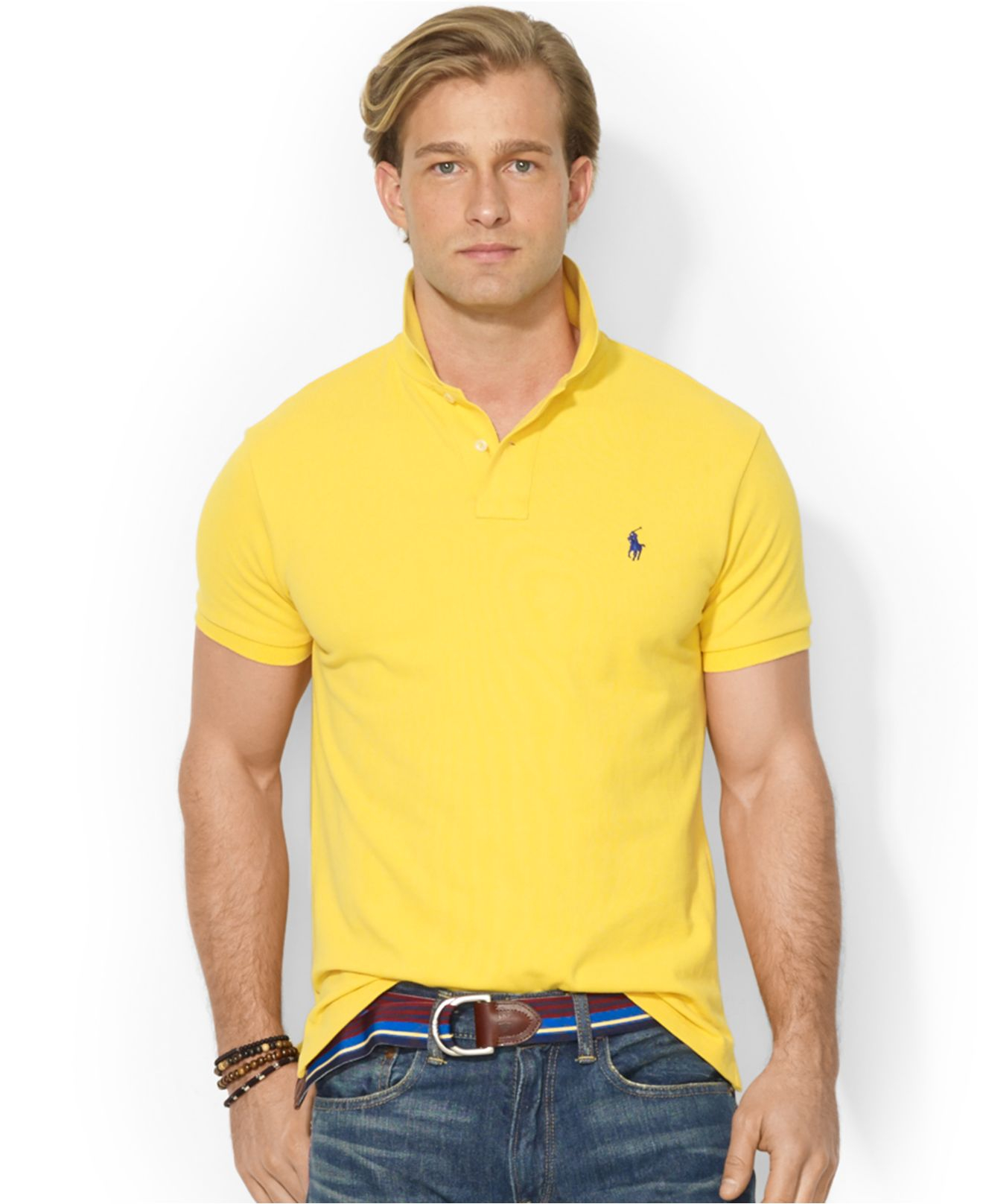 601a39758068d Lyst - Polo Ralph Lauren Custom-Fit Mesh Polo in Yellow for Men