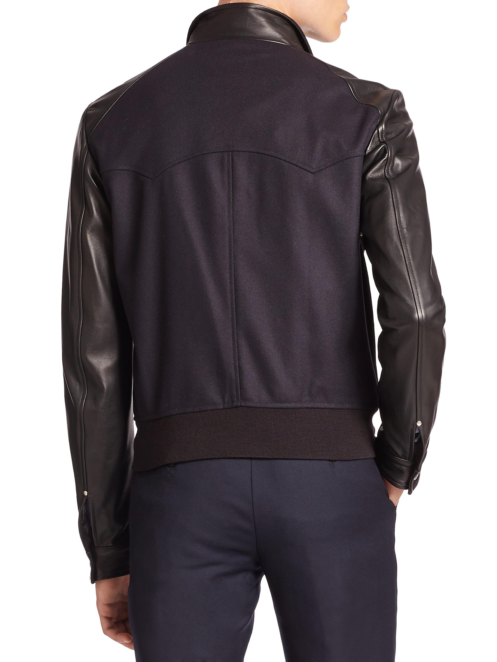 The Kooples Leather Trimmed Bomber Jacket In Blue For Men