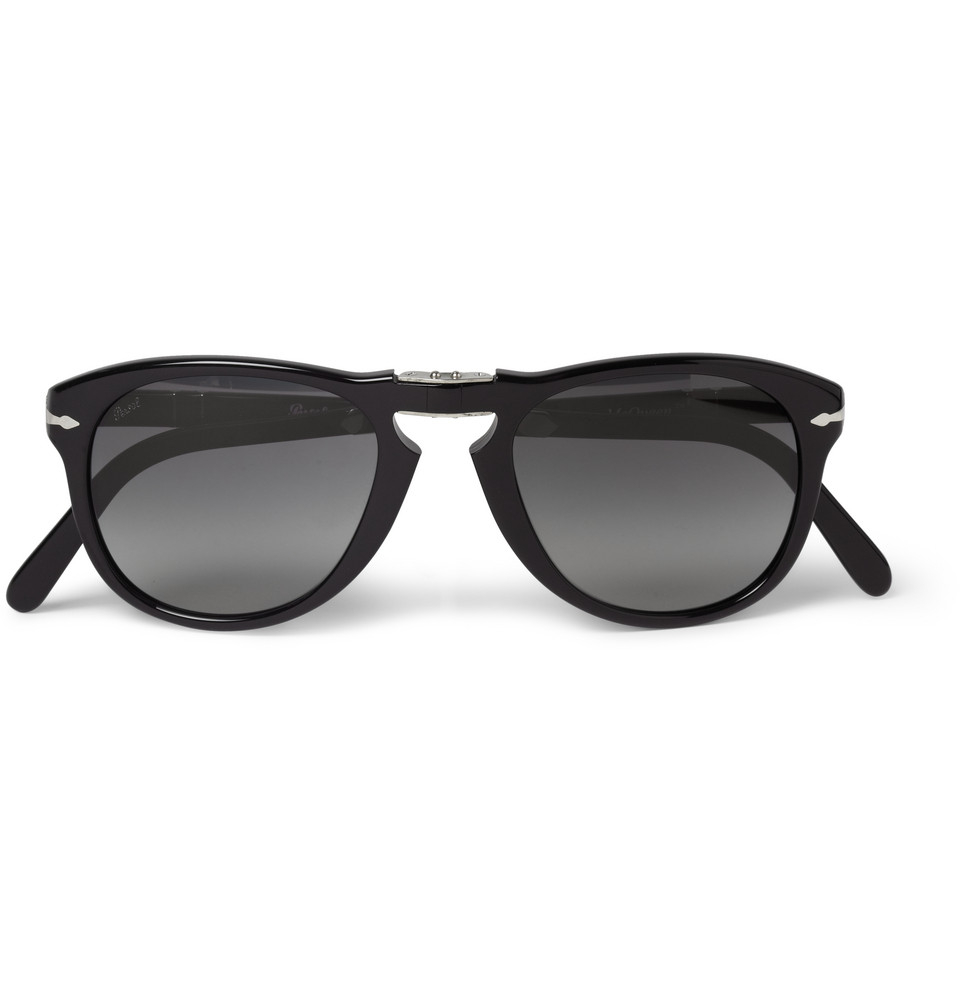 persol steve mcqueen folding acetate sunglasses in black. Black Bedroom Furniture Sets. Home Design Ideas