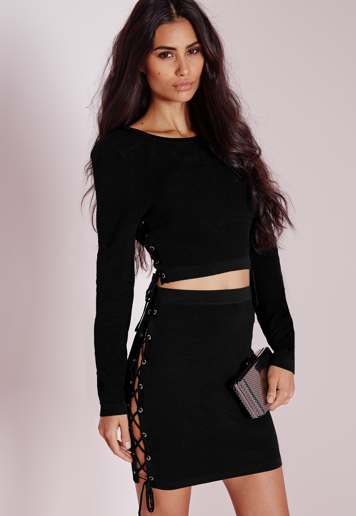 b29fa5f7ebbb Missguided Lace Up Tie Side Knitted Mini Skirt Black in Black - Lyst