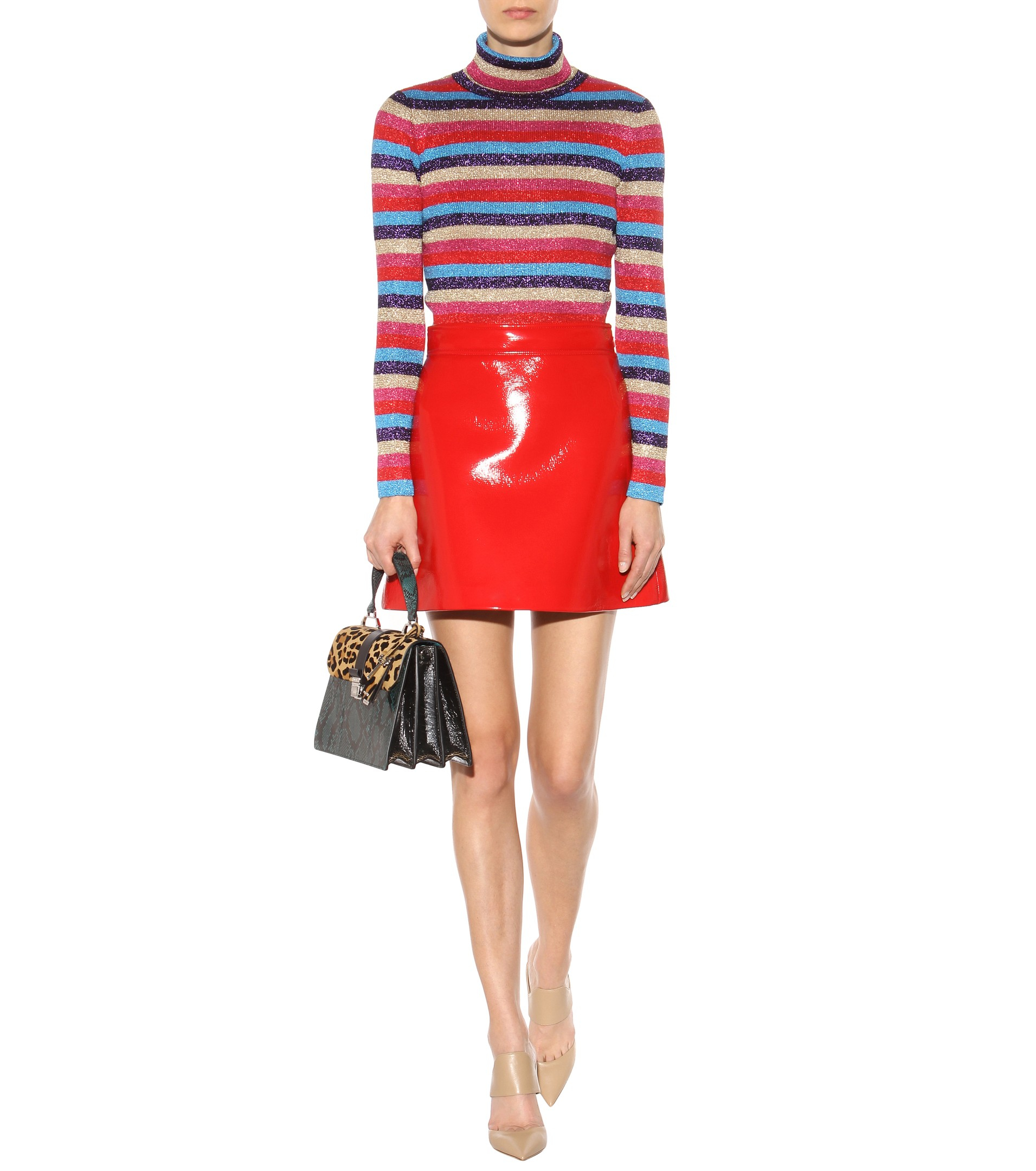 15e7dde07e7 Lyst - Miu Miu Metallic Striped Knitted Turtleneck Sweater