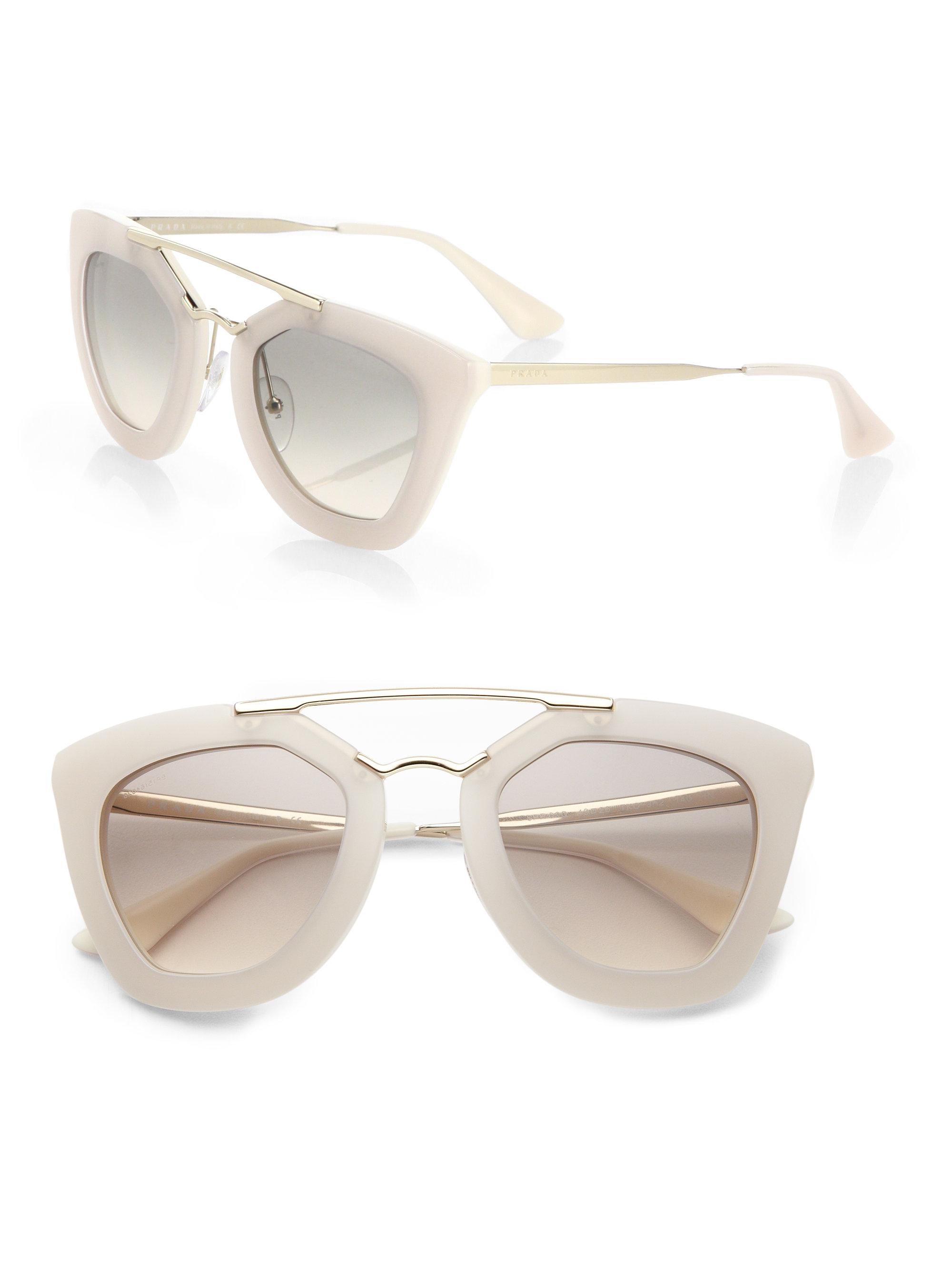 Prada White Frame Glasses : Prada 49mm Angular-frame Sunglasses in White Lyst