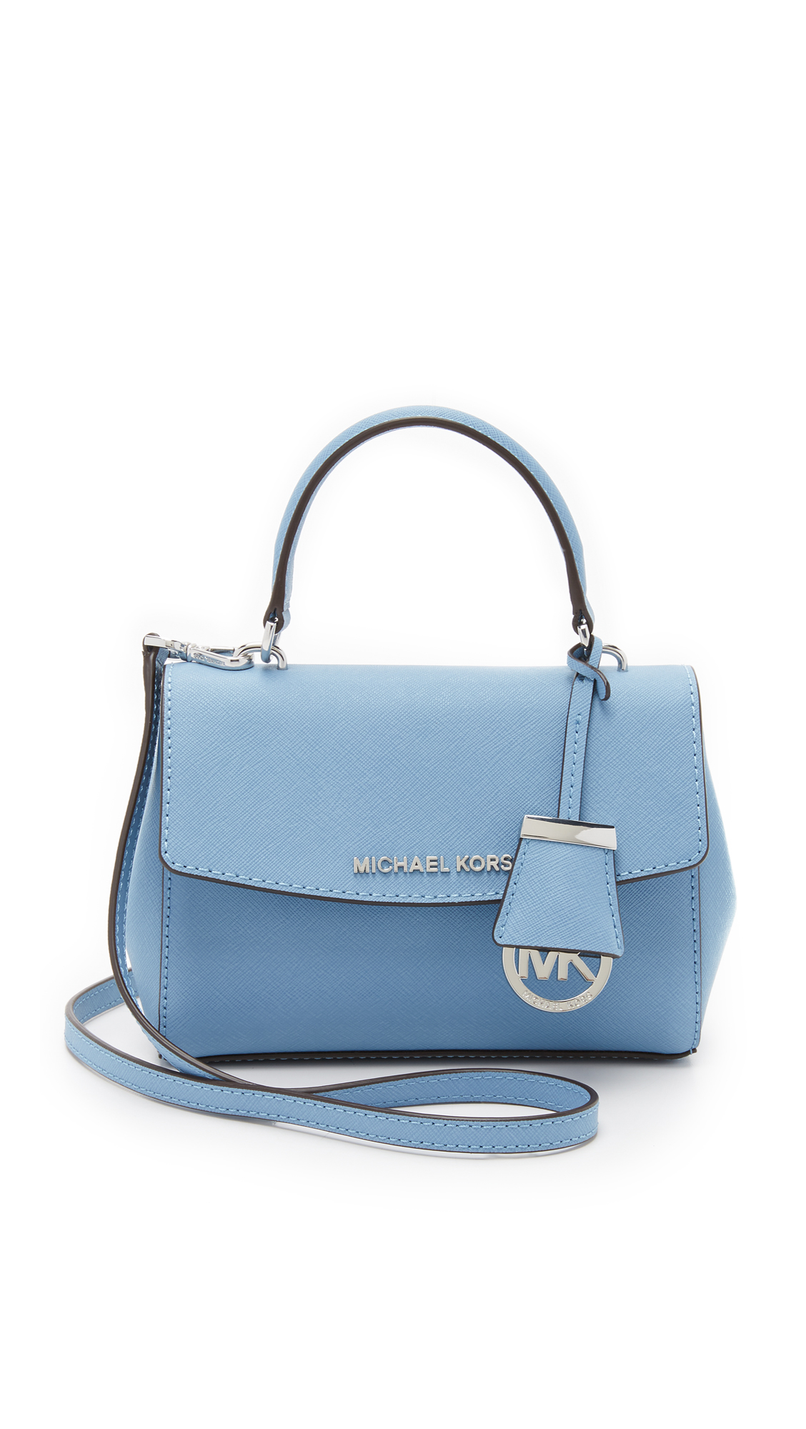 f98355bea6a9 ... new style lyst michael michael kors ava small cross body bag sky in  blue 7fb6b c03a4