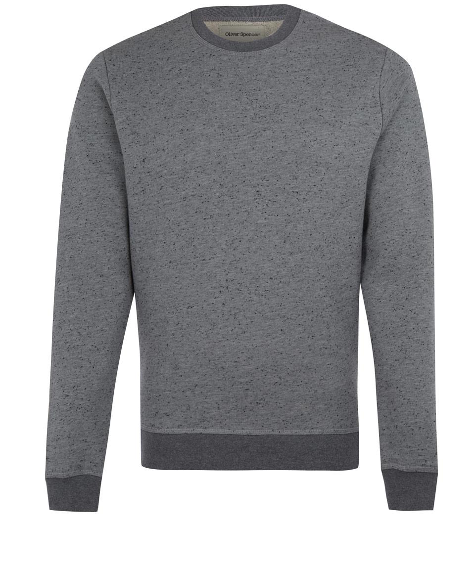 oliver spencer grey melange crew neck sweatshirt in gray. Black Bedroom Furniture Sets. Home Design Ideas
