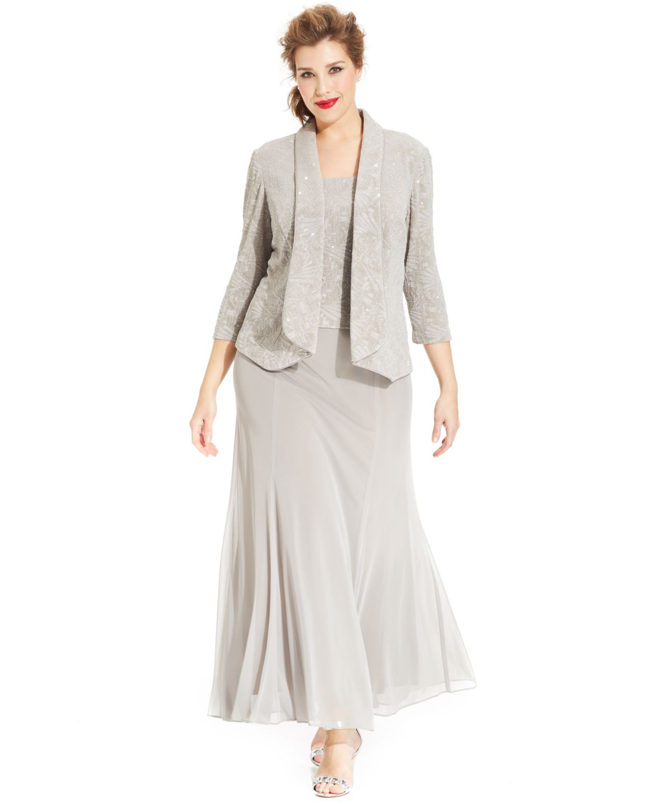 Alex Evenings Plus Size Glitter Jacquard Dress And Jacket in Gray - Lyst