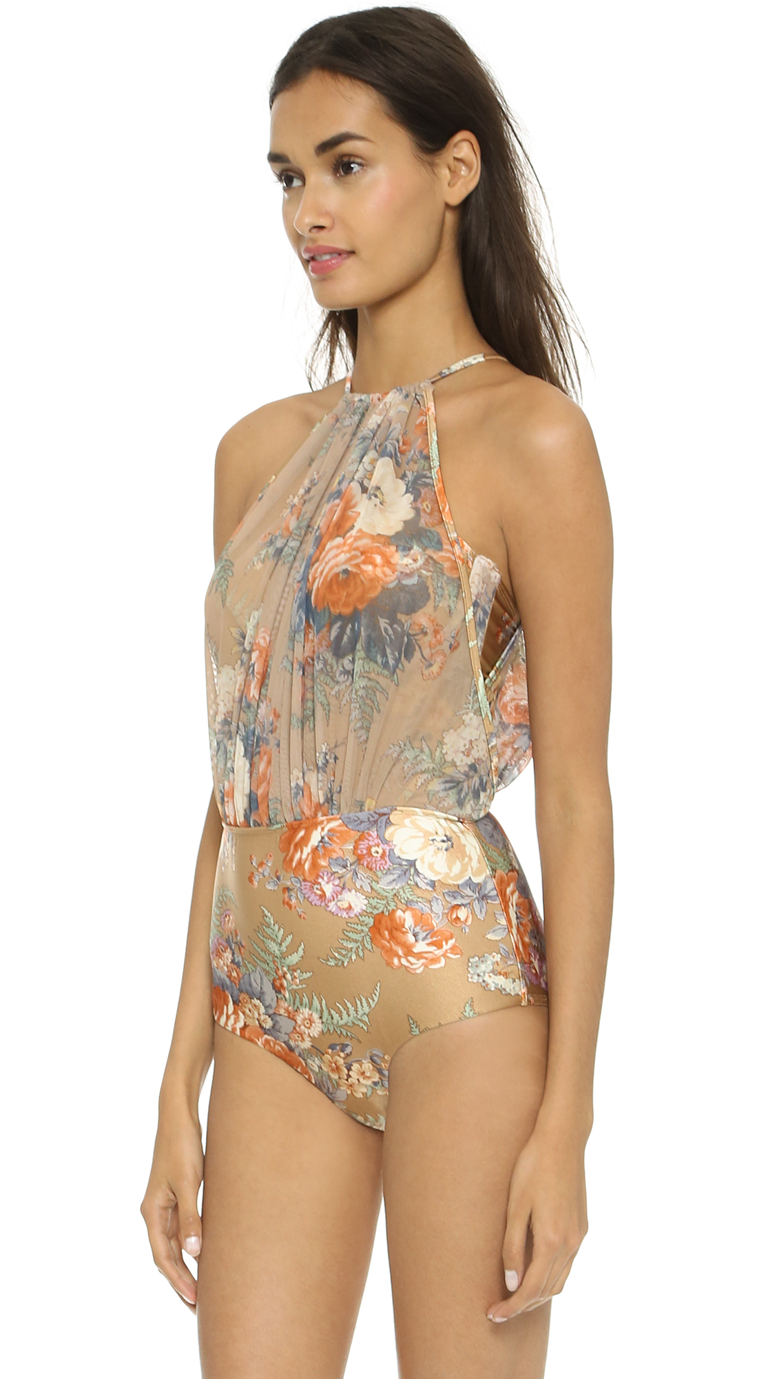 Lyst - Zimmermann Anais Floral Mesh One Piece - Nude