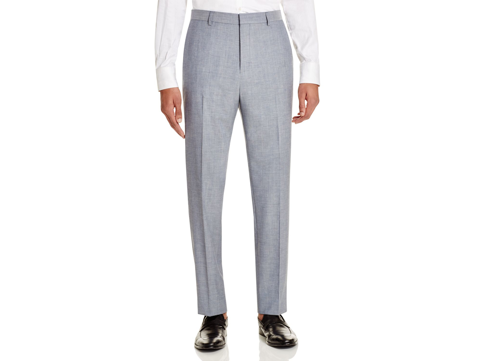 hugo boss light blue hugo speckled hamen slim fit trousers blue. Black Bedroom Furniture Sets. Home Design Ideas