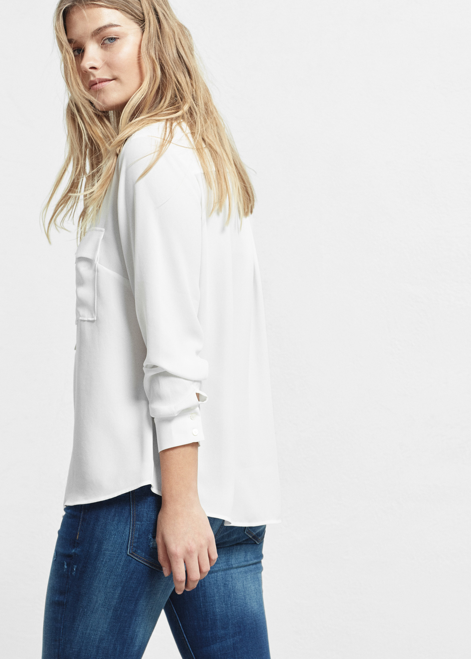 8da8735e599536 Lyst - Violeta by Mango Pockets Flowy Shirt in White