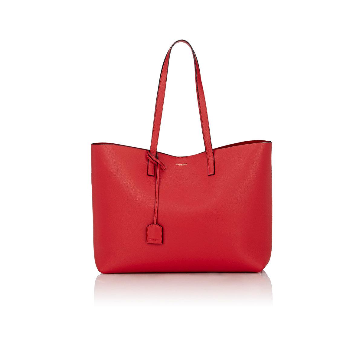 saint laurent shopper large tote in red lyst. Black Bedroom Furniture Sets. Home Design Ideas