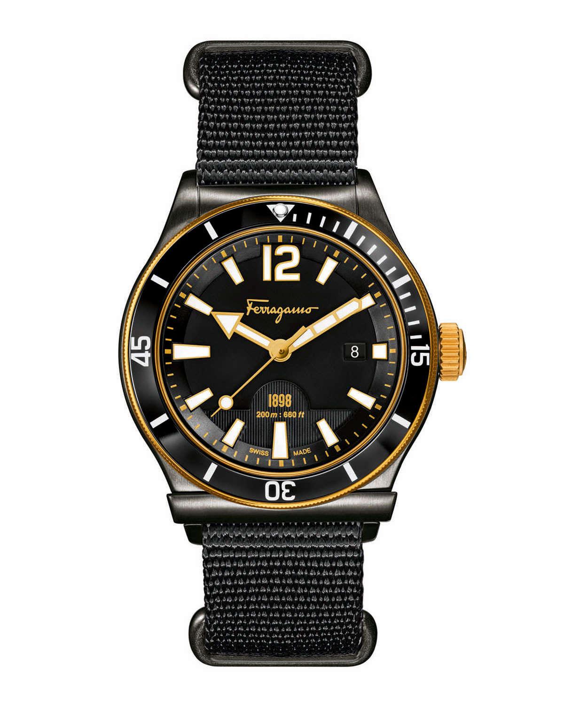 Ferragamo 1898 rotating bezel watch in black for men lyst for Black bezel watches