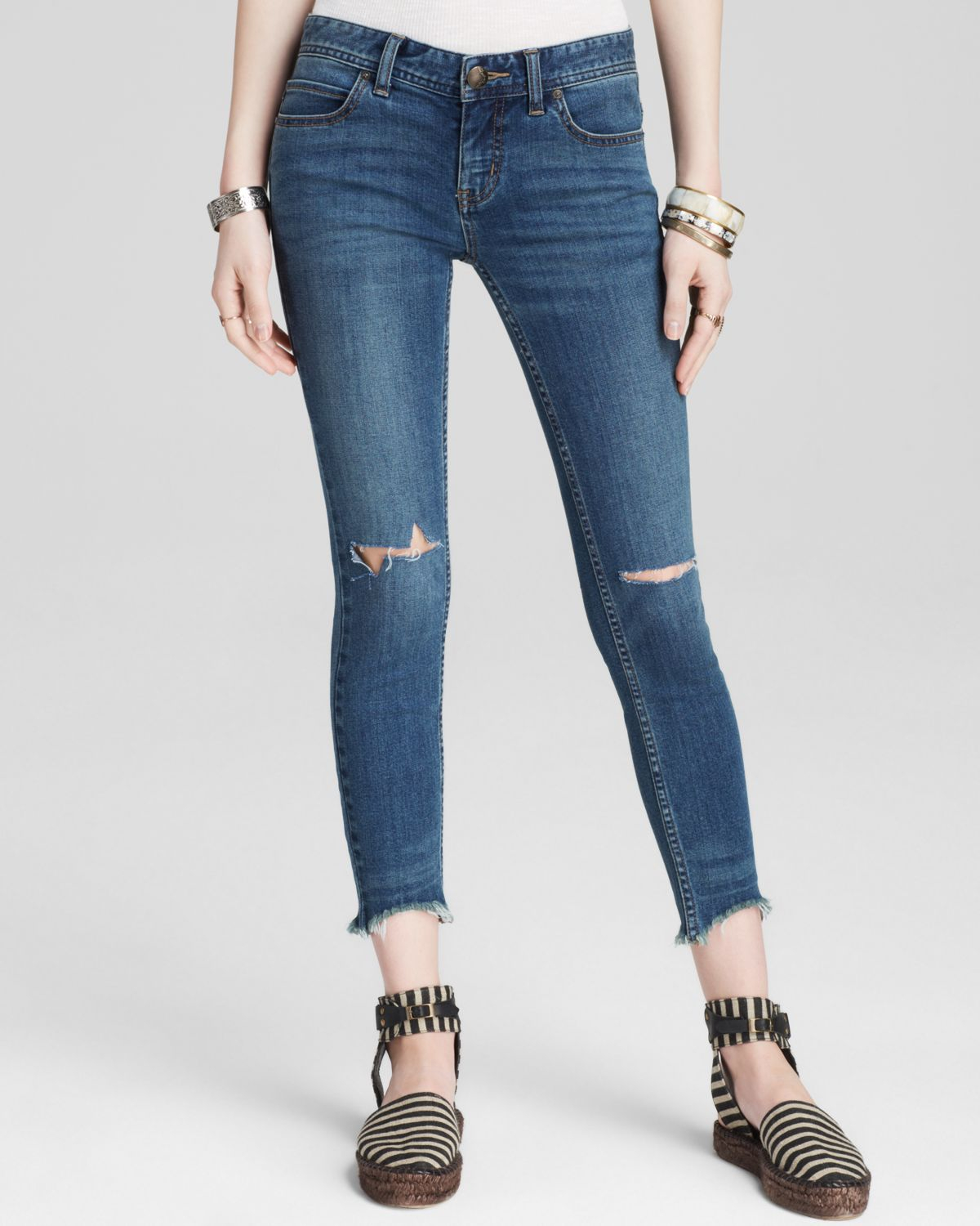 52234673fde6a Lyst - Free People Jeans - Destroyed Crop Skinny In Tupelo Blue in Blue