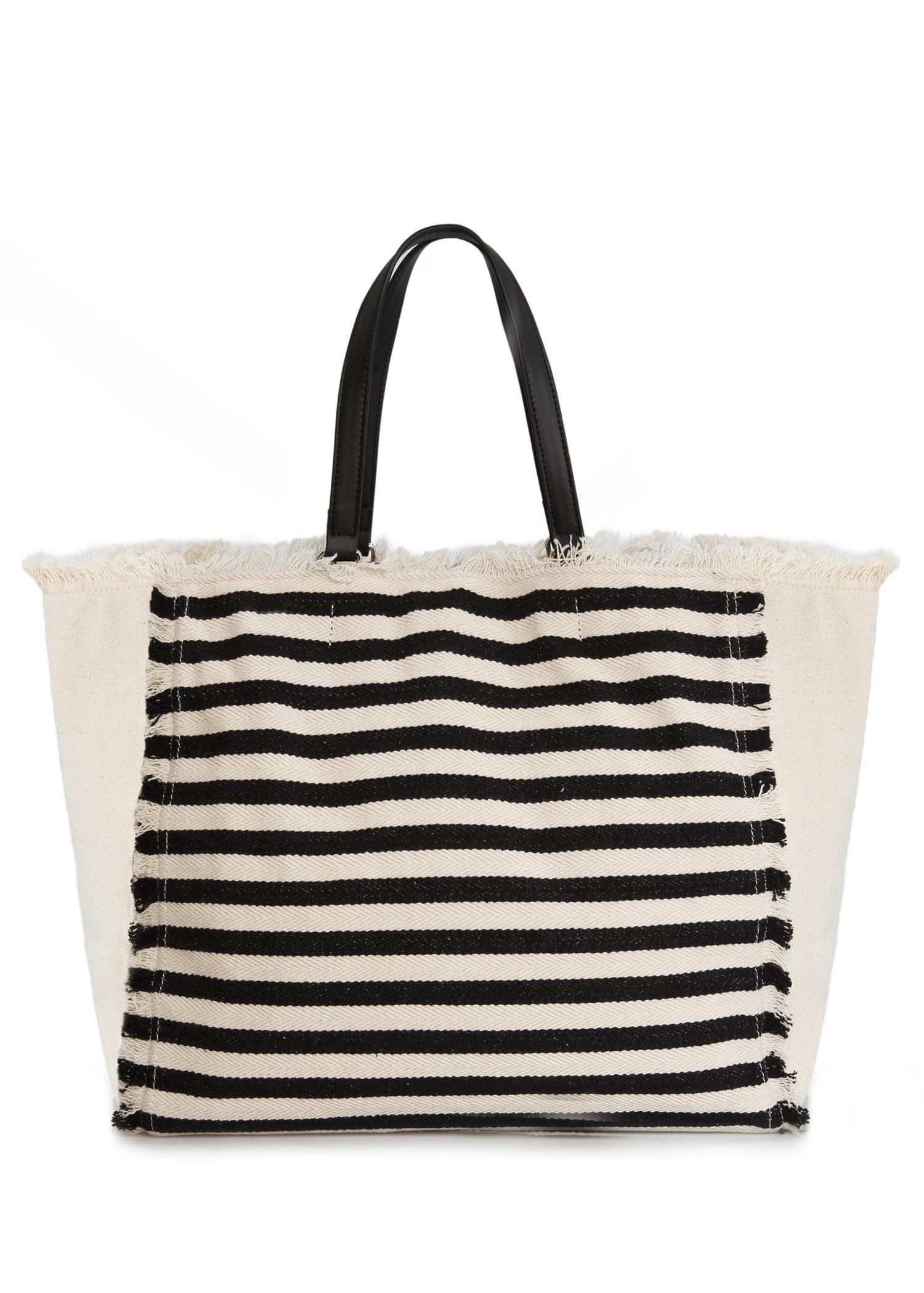 Mango Striped Canvas Bag in Black   Lyst