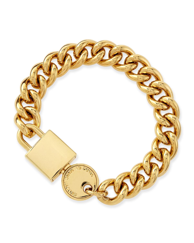 marc by marc lock in golden statement bracelet in