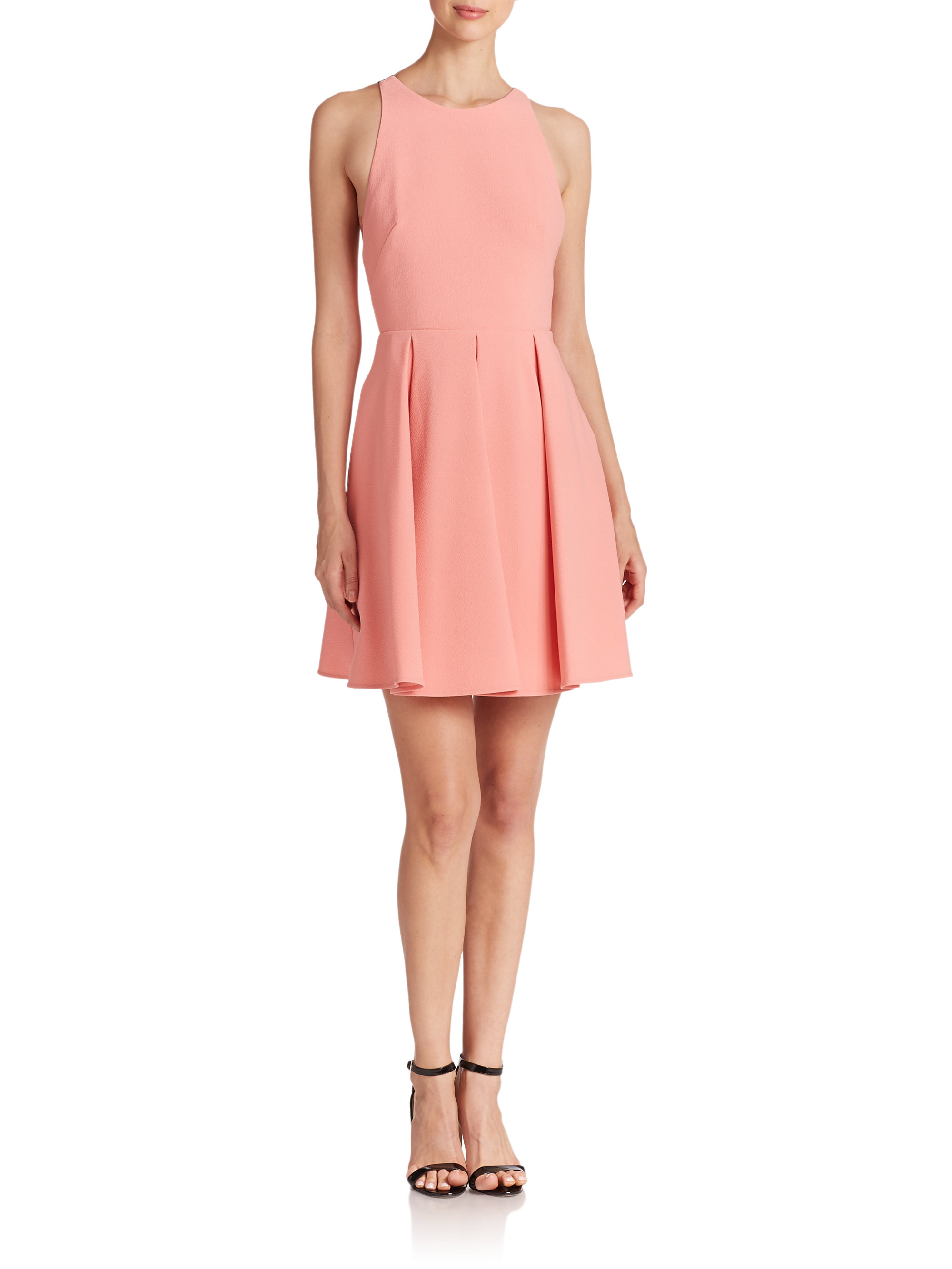 14dc03b37aa Lyst - ABS By Allen Schwartz Lace-back Fit- -flare Dress in Pink