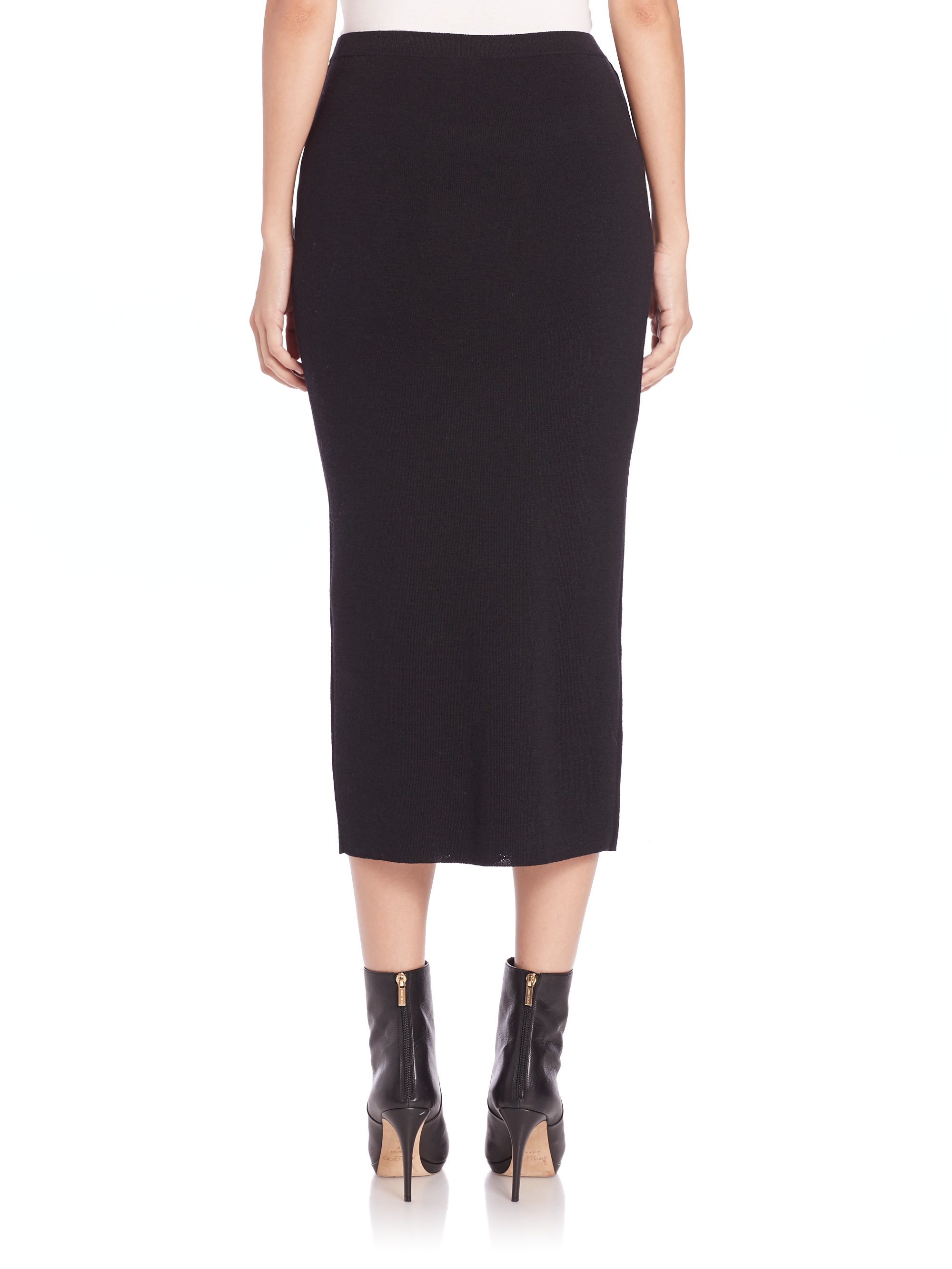Eileen fisher Icon Wool Pencil Skirt in Black | Lyst