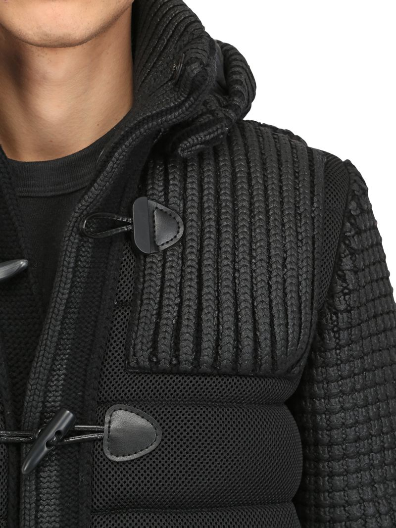 Bark Waxed Wool Blend Knit Mesh Duffle Coat in Black for Men | Lyst