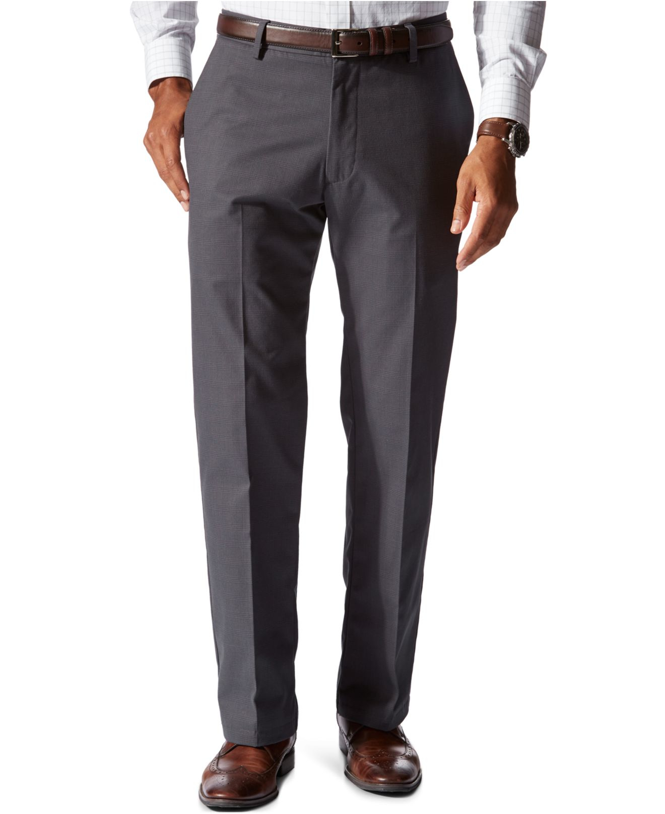 Dockers D2 Straight Fit Signature Khaki Flat Front Pants in Blue ...