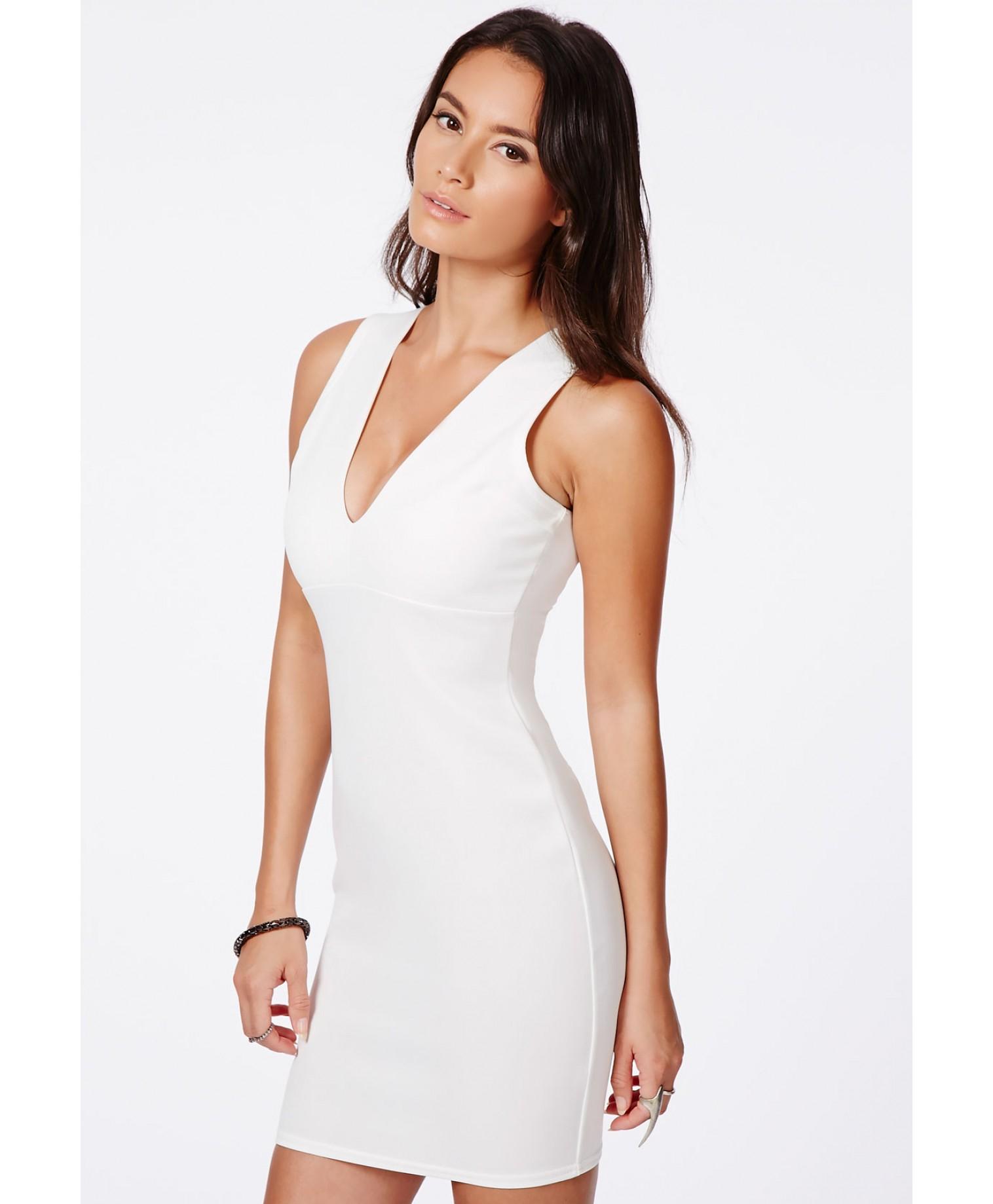 96e9b1136a22 Lyst - Missguided Kesari White Plunge Neck Bodycon Mini Dress in White