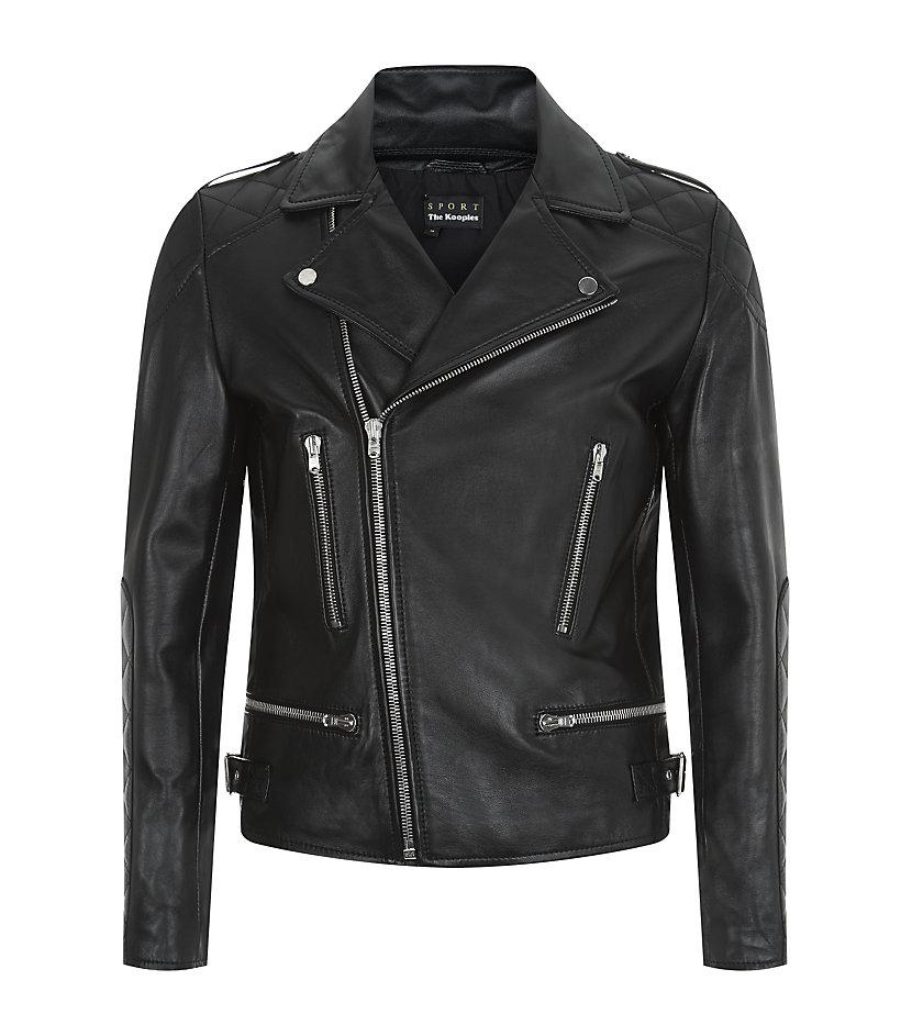 The Kooples Sport Leather Biker Jacket In Metallic For Men