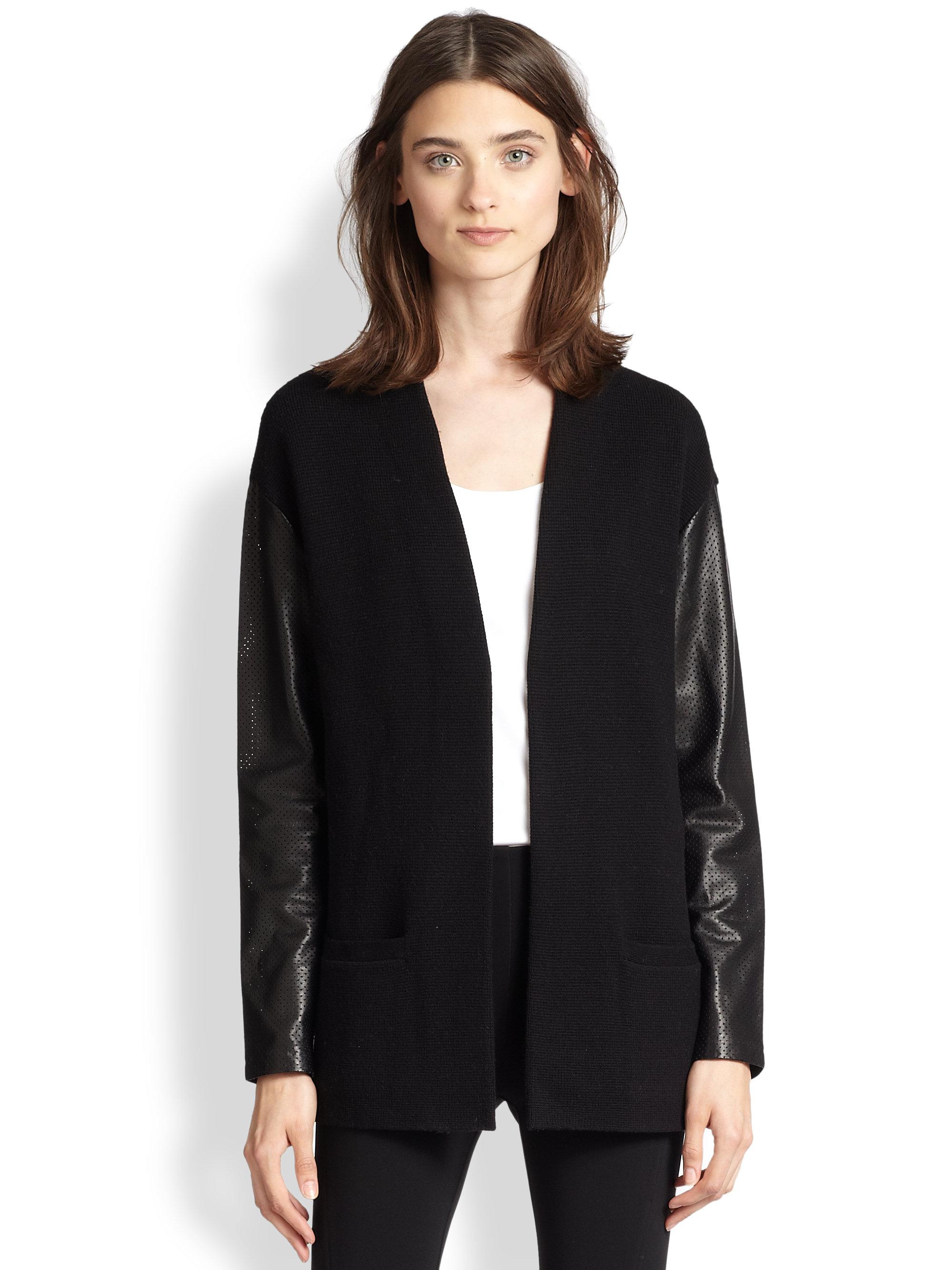 Lyst Ralph Lauren Leather Sleeve Wool Cardigan In Black