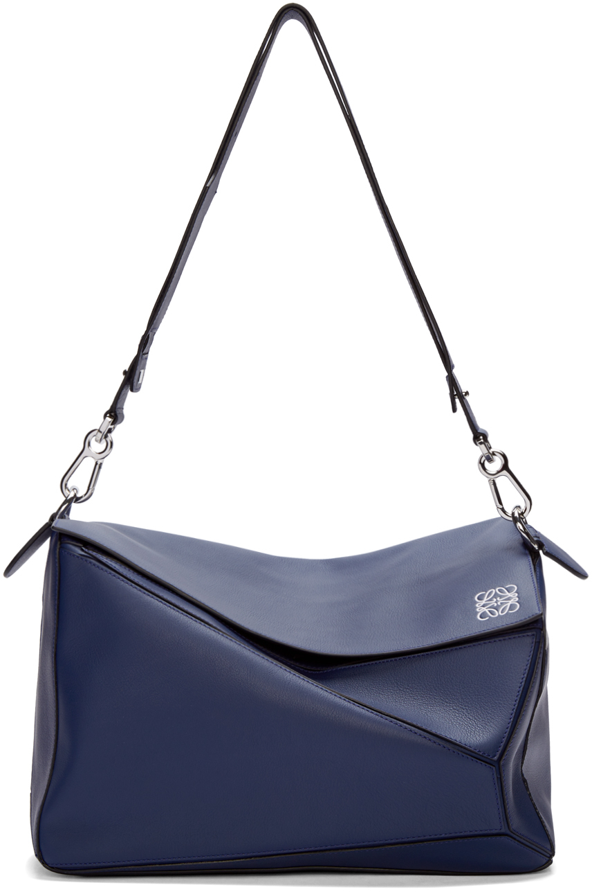 27a7445559cd Lyst - Loewe Navy Leather Extra Large Puzzle Bag in Blue