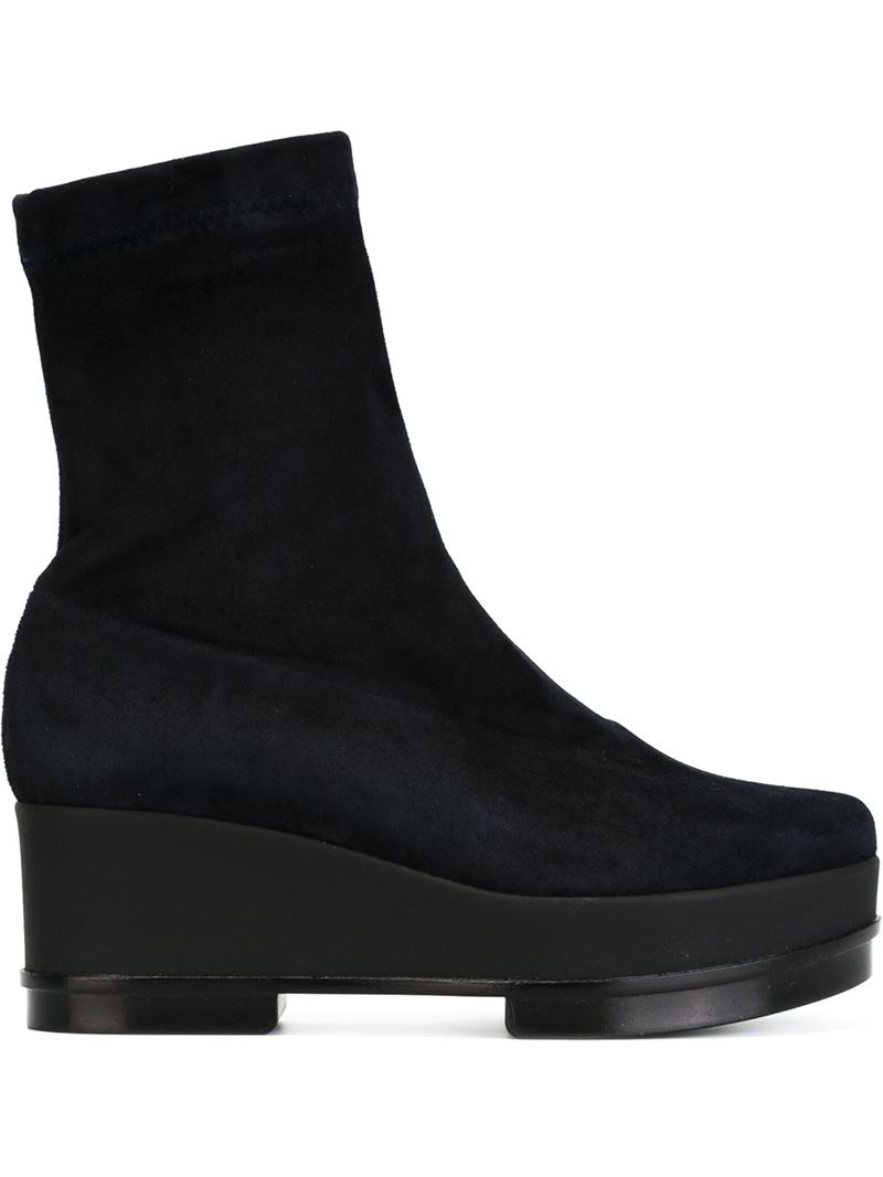 robert clergerie wedge boots in blue lyst