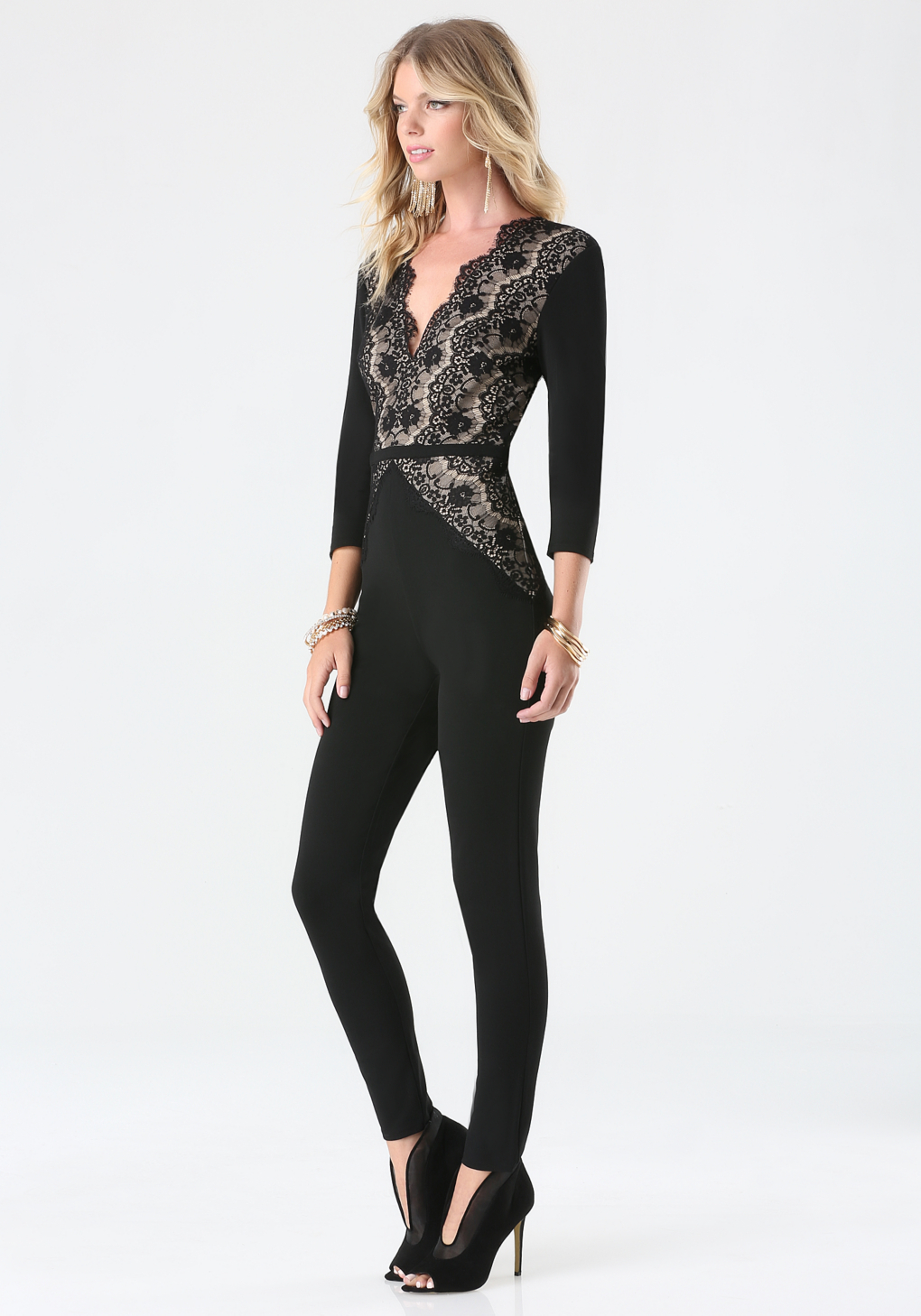 Lyst - Bebe Petite Magda Lace Jumpsuit In Black-9808