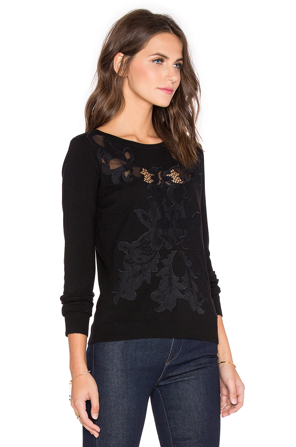 Diane von furstenberg Shana Lace Sweater in Black | Lyst