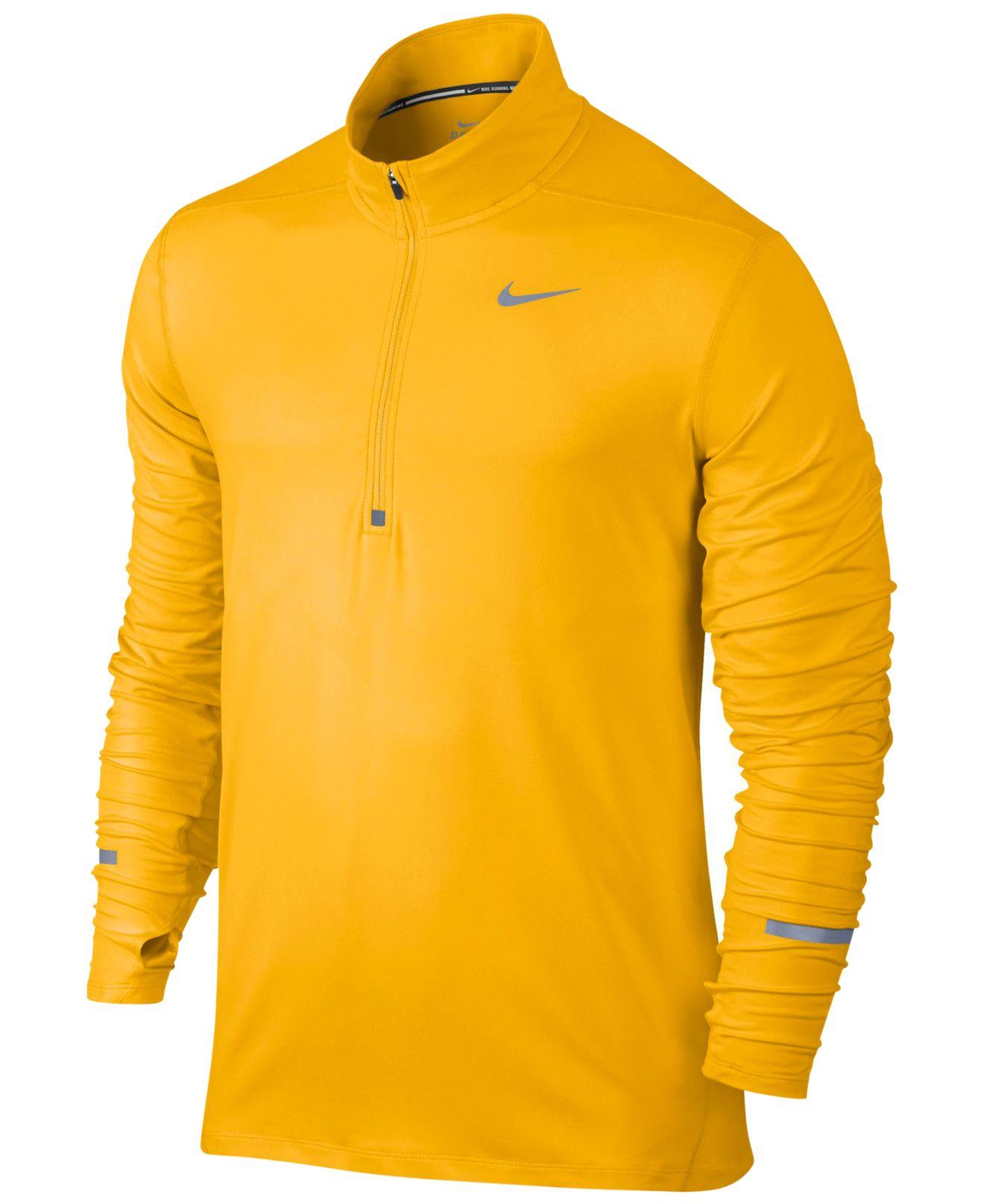 3bbb672a Nike Men's Element Dri-fit Half-zip Running Shirt in Yellow for Men ...