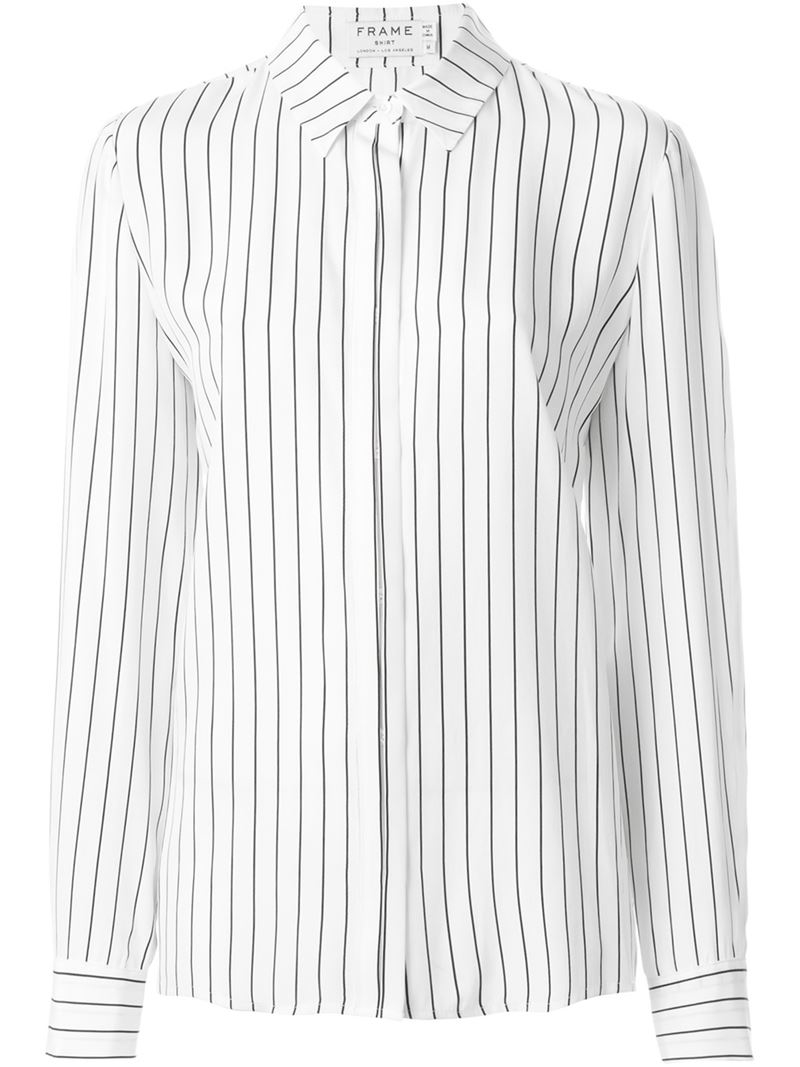 Lyst - Frame Striped Shirt in White