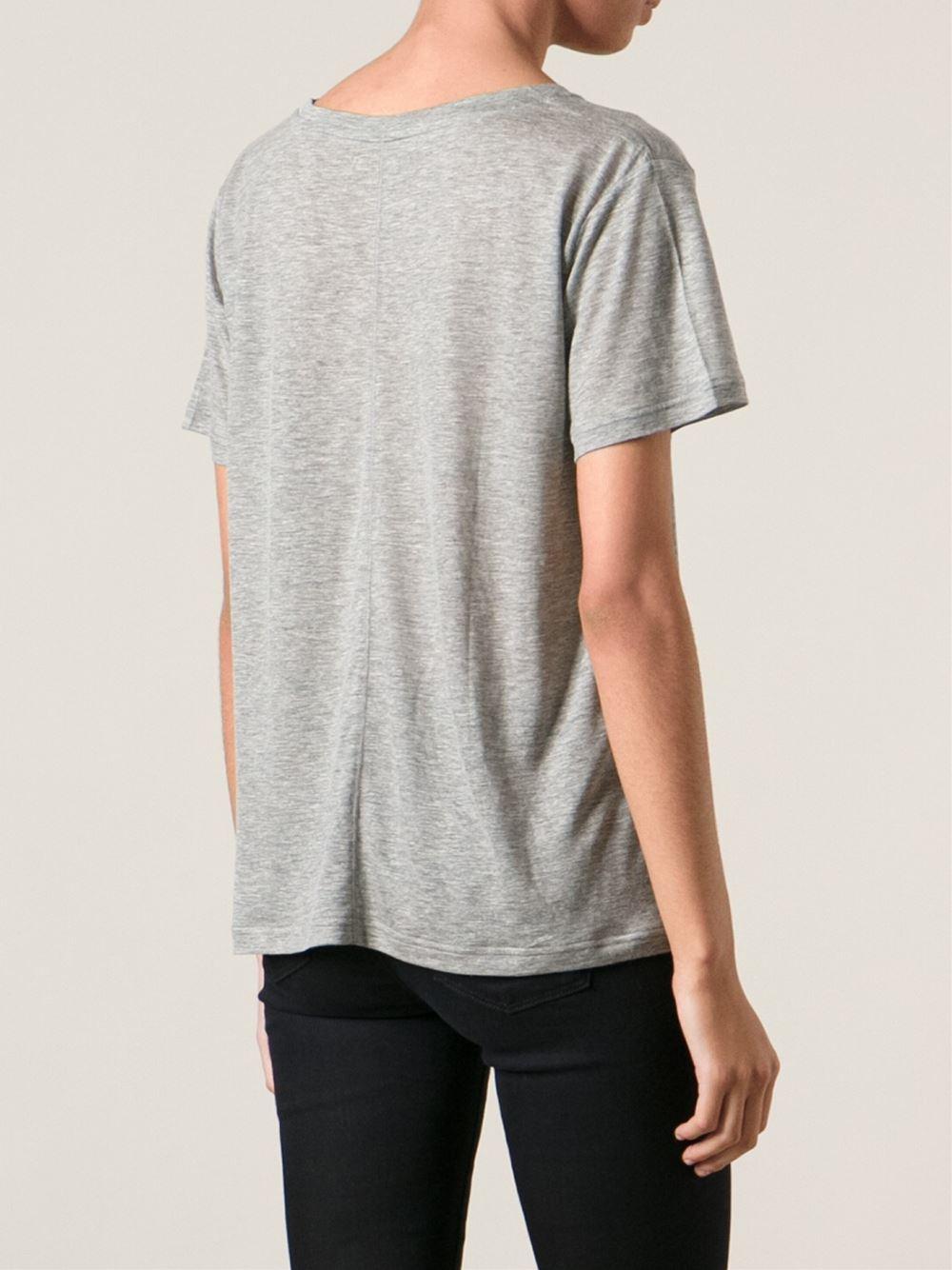 Lyst j brand v neck t shirt in gray for Branded v neck t shirts