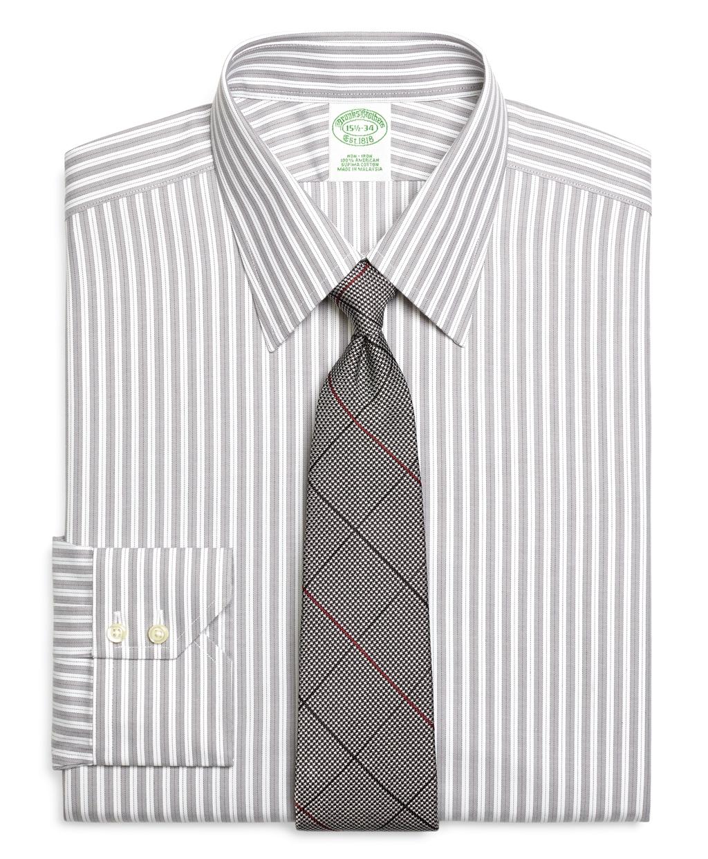 Brooks brothers non iron extra slim fit herringbone stripe for Best extra slim fit dress shirts