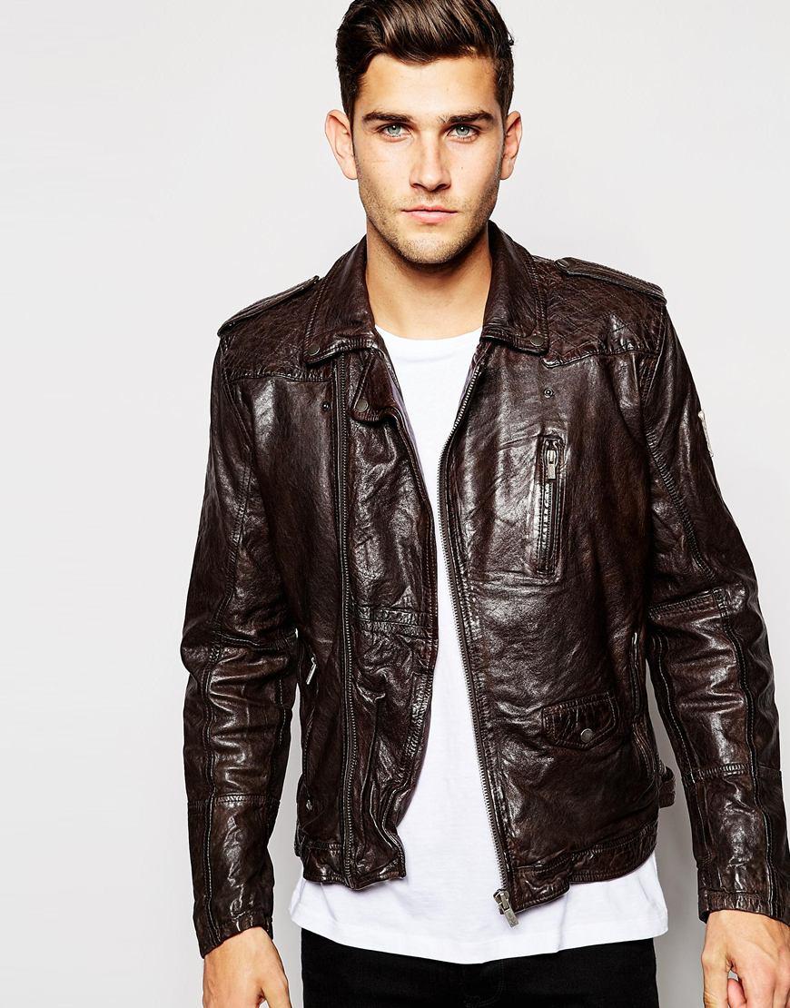 pepe jeans arcade leather jacket in brown for men lyst. Black Bedroom Furniture Sets. Home Design Ideas