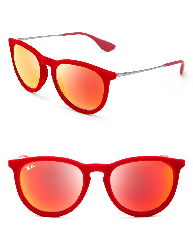 Lyst Ray Ban Velvet Round Keyhole Sunglasses In Red For Men