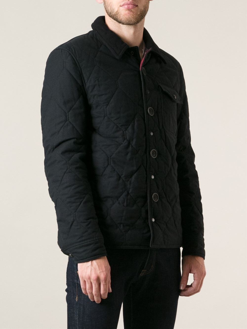 Burberry Brit Diamond Quilted Jacket In Black For Men Lyst
