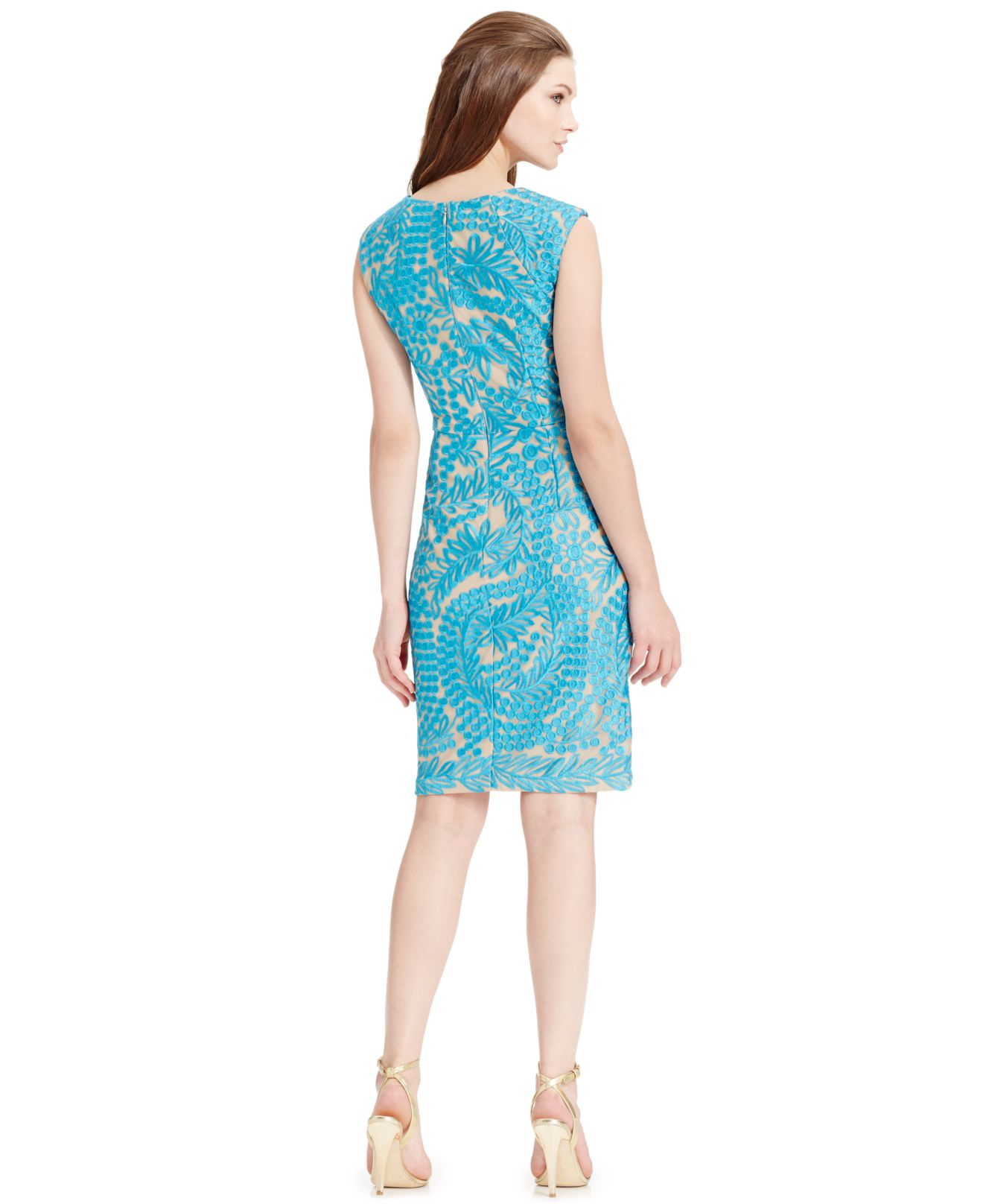 Lyst alex evenings floral embroidered sheath dress in blue