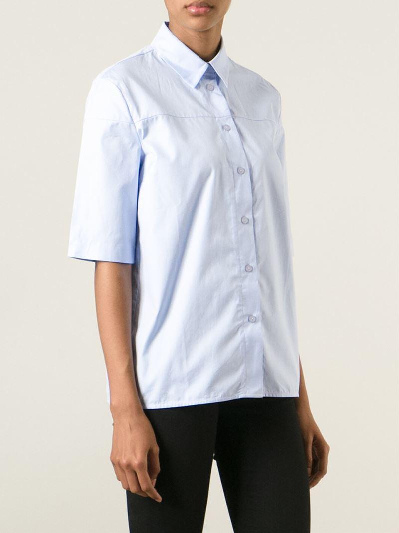 Victoria Beckham Short Sleeve Shirt In Blue Lyst