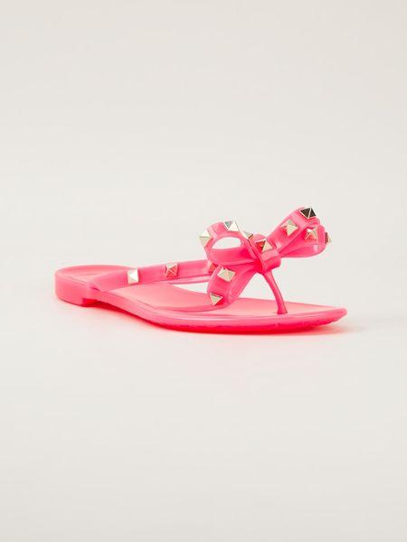 valentino rockstud sandals in pink pink purple