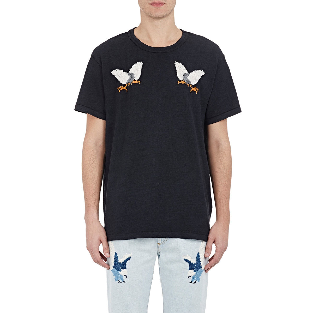 25438a44b0ea Lyst - Off-White c o Virgil Abloh Men s Eagle-embroidered T-shirt in ...