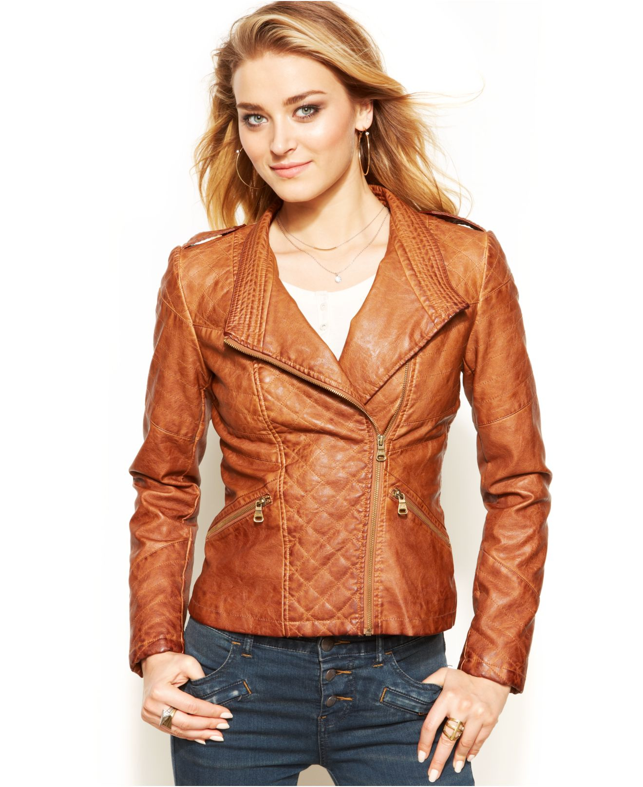 9bd1d336 Guess Quilted Faux-Leather Moto Jacket in Brown - Lyst