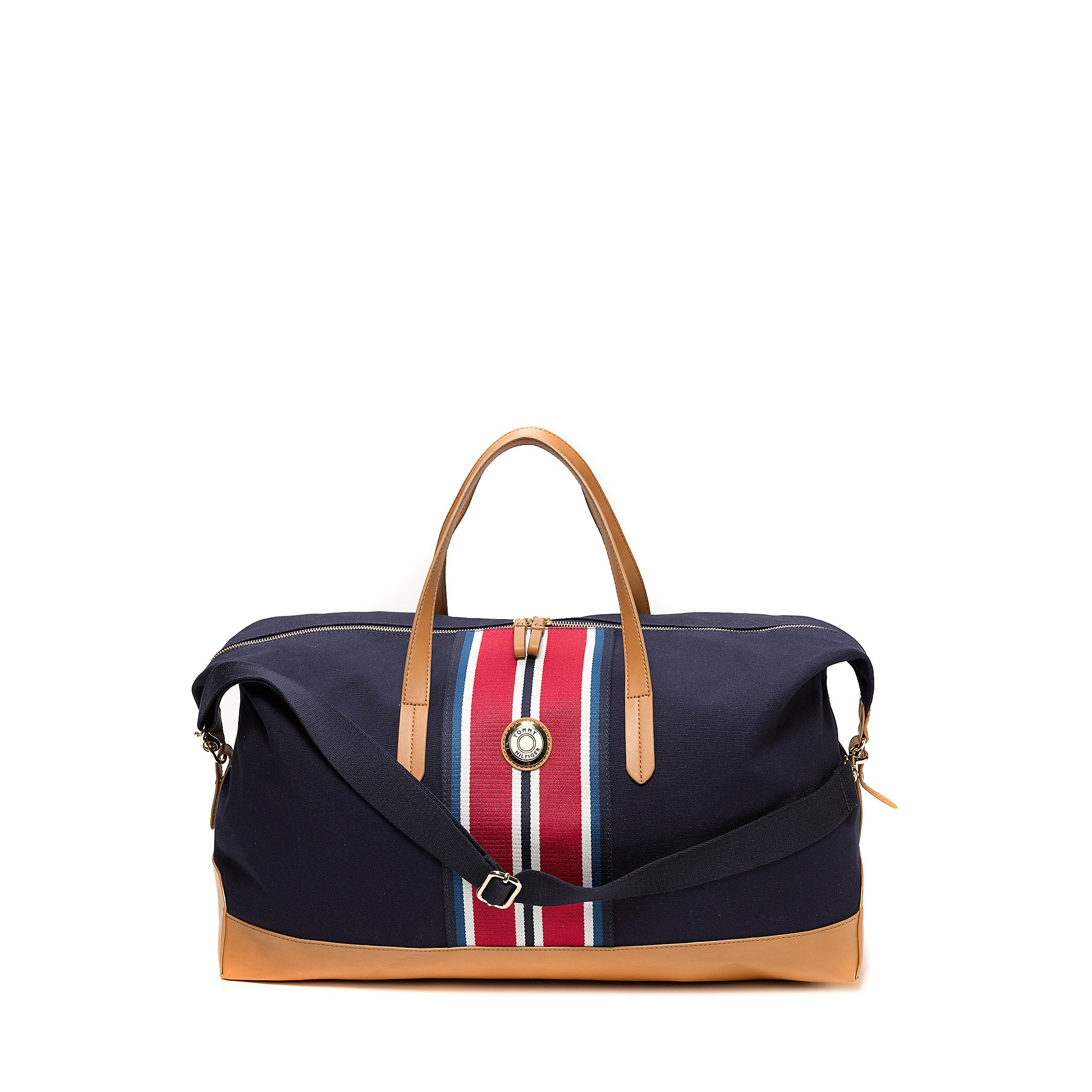 tommy hilfiger weekend travel tote in beige navy multi lyst. Black Bedroom Furniture Sets. Home Design Ideas