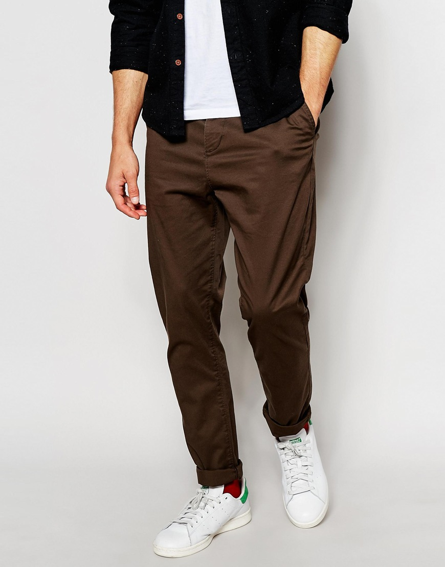 Lyst Asos Tapered Chinos In Brown In Brown For Men