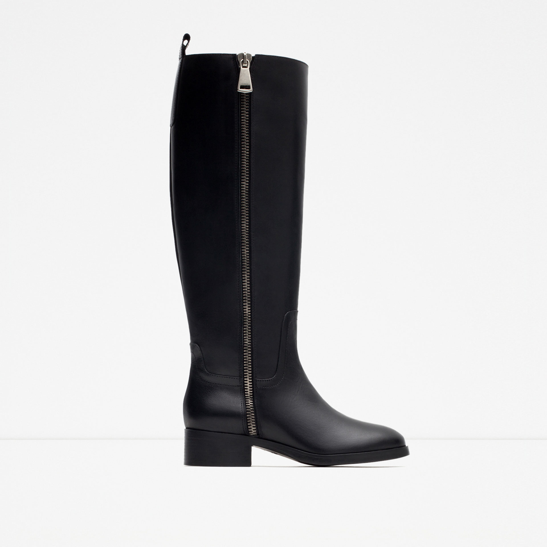 zara flat leather boots with zip in black lyst