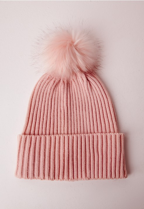 Missguided Pom Pom Hat Pink in Pink - Lyst cace6da9407d