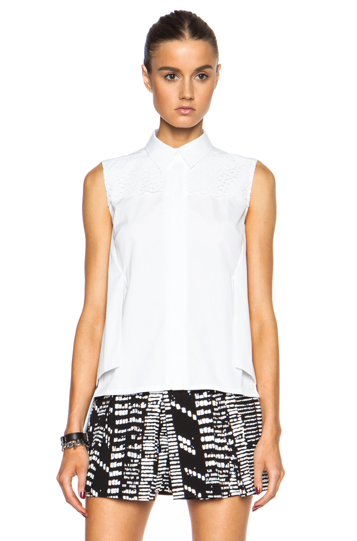 Lyst peter pilotto sleeveless button down cotton top in for Sleeveless cotton button down shirts